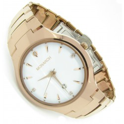 "Monarch Tungsten Wolfram Armband Uhr ""Classic Redgold White"""